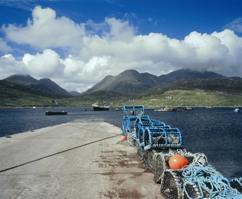Lobster pots at West Loch Tarbert, Isle of Harris, Western Isles.