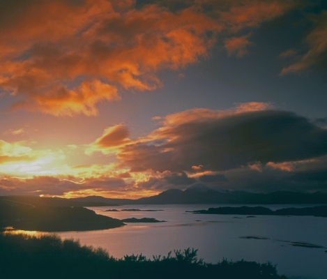 Sunset on the Red Cuillin, Isle of Skye from Kyle of Lochalsh