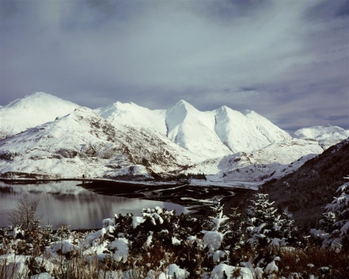 The five sisters of Kintail in winter 2