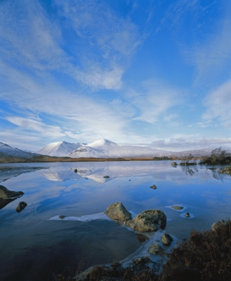 Rannoch Moor with ice on lochan Na H'aclaise
