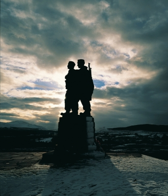 The Commando monument at Spean Bridge, Lochaber.