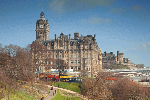 Princes Street Gardens in spring with the Balmoral Hotel, Edinburgh