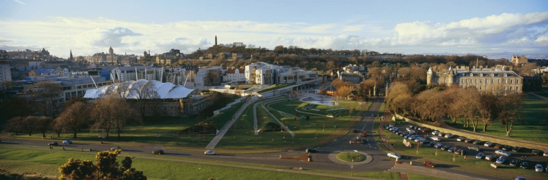 The Scottish Parliament and Holyrood Palace panorama