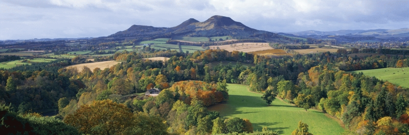 The Eildon Hills in Autumn from Scott's view.