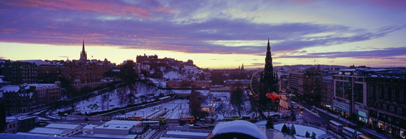 Edinburgh twilight Christmas panorama with snow
