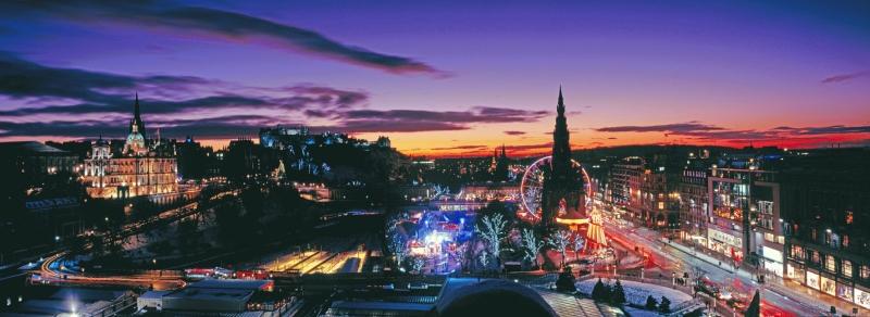 Edinburgh Christmas panorama after sunset.