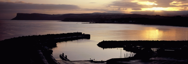 Sunrise on Ballycastle harbour, N. Ireland