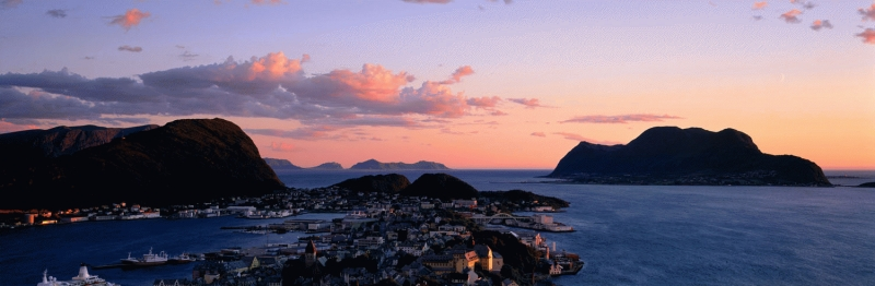 Alesund at sunset.