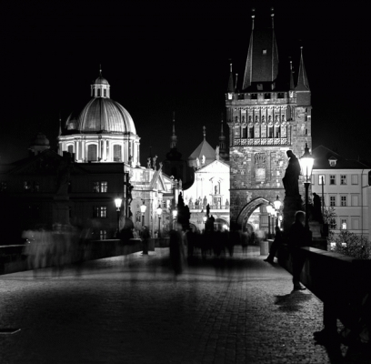 Czech Republic: The Charles Bridge, black and white