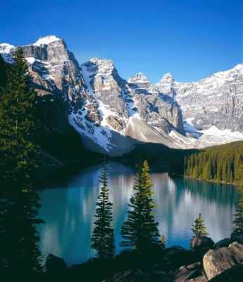 Moraine Lake, Alberta, Canada in portrait.