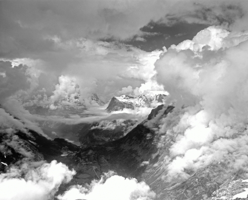 Norway: Geiranger Fjiord, from Dalsnibba, B and W