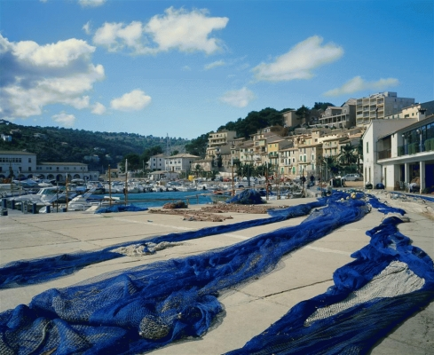 Spain: Fishermen's nets at Port Soller, Majorca