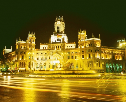 Spain: Place Cebeles at night, Madrid