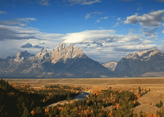 USA: The Tetons from Snake river overlook