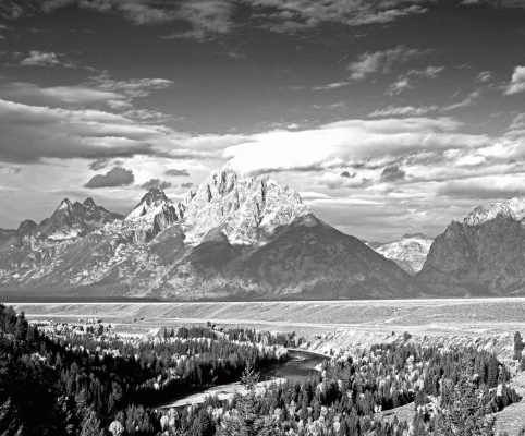 USA: The Tetons from Snake river overlook, black and white