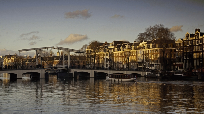 The Netherlands: River Amstel with swing bridge, Amsterdam