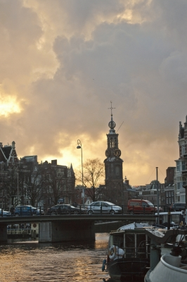 The Netherlands: River Amstel at sunset, city of Amsterdam