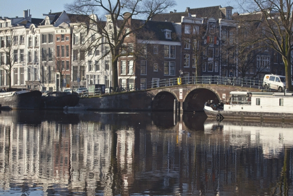 The Netherlands: River Amstel and canal bridge