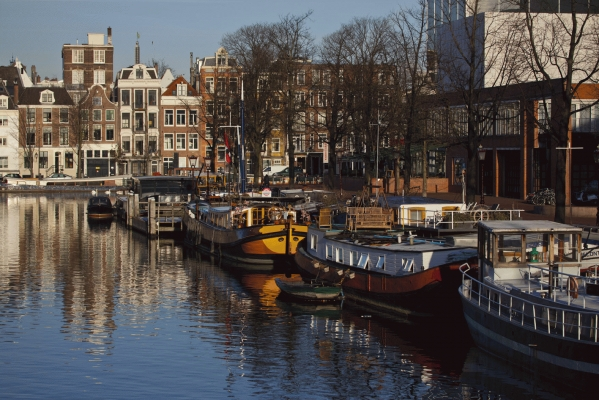 The Netherlands: Boathouses on the Amstel river, Amsterdam