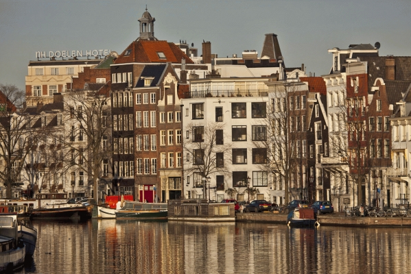 The Netherlands: The river Amstel, Amsterdam, in winter