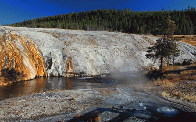 USA: Chinese spring and Firehole river 2,Yellowstone National Park