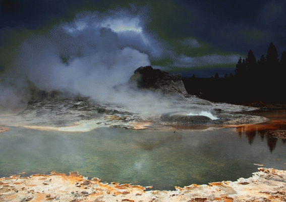 USA: Castle geyser erupting, Yellowstone National Park,