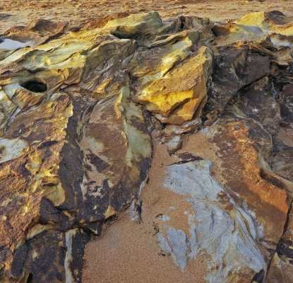 Golden rocks and sand, Elie beach, Fife, in winter