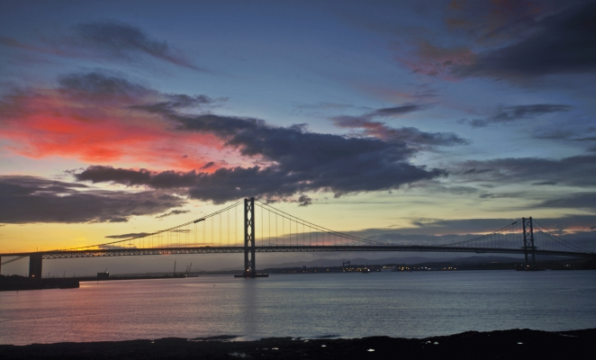 The Forth Road Bridge at sunset from S Queensferry