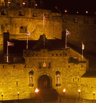Edinburgh Castle entrance floodlit!special new addition