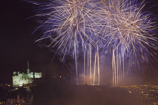 Edinburgh festival fireworks blue!special new addition
