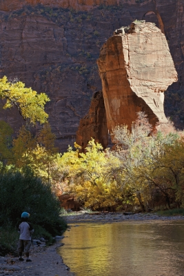 Admiring the Temple of Sinawava, Zion National Park, Utah,