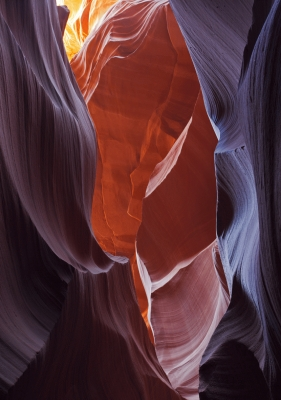 Lower Antelope Canyon,  A slot canyon (cave) in Arizona, USA.