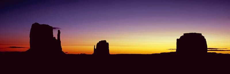Panoramic of the Mittens and Merrick Butte, Monument Valley, Utah, USA