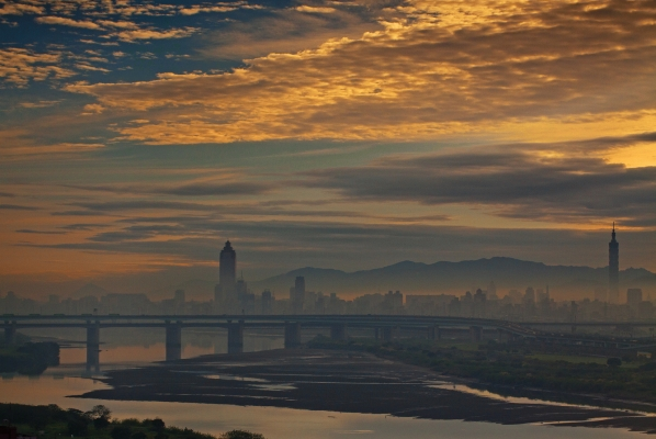 Taipei city silhouette at dawn, Taiwan