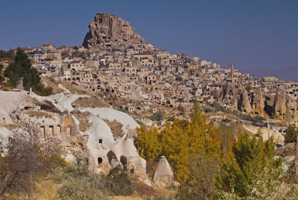 Uchisar from Pigeon valley, Capadoccia, Turkey