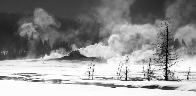 New Yellowstone, USA. Pano of white dome erupting, from Tangle Creek