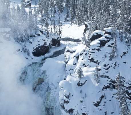 New USA, Yellowstone upper falls in winter.